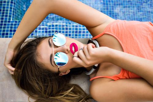 women blue sunglasses