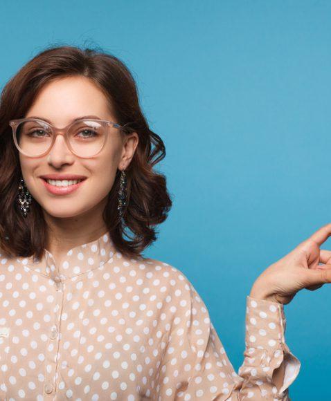 Blue lady transparent glasses