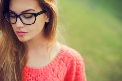 woman wearing rimmed glasses
